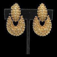 Goldtone Pendulum Earrings with Raised Beads of Metal