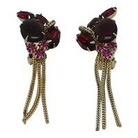 Red & Magenta Rhinestone Earrings with Metal Fringe