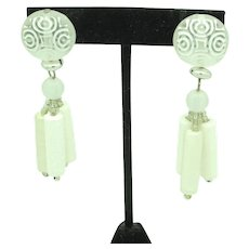 Embossed Resin Earrings with Dangling Beads