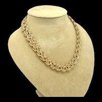 Woven Goldtone Metal Link Necklace