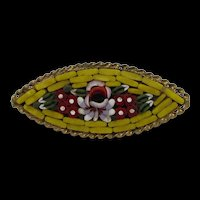 Floral Micro Mosaic Brooch with Goldtone Rope Frame