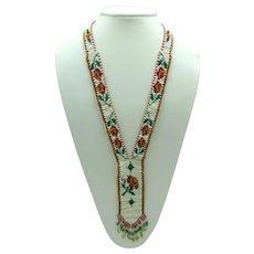 1970s Handmade Beadwork Necklace with Flowers
