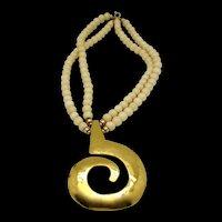Modernist Pendant on Double Strand Bone Beads