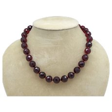 Faceted Cherry Amber Bead Necklace