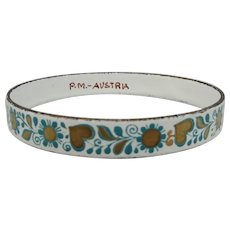 1960s Austrian Enameled Bangle with Hearts and flowers