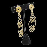 Goldtone Hand Hammered Coil Earrings