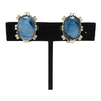 Marbled Blue Glass Earrings