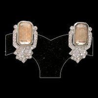 Art Deco Etched Glass Dress Clips With Rhinestones