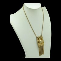 Woven Goldtone Metal Necklace with Metal Fringe