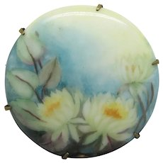 Handpainted Porcelain Brooch With Flowers