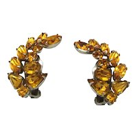 Crescent Shaped Topaz Rhinestone earrings