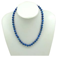 Hand-Knotted Blue Lapis Bead Necklace