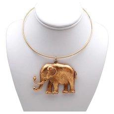 Goldtone Metal Elephant Pendant on Neckwire