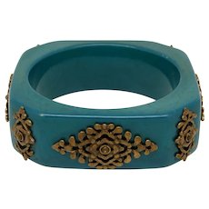 Blue/Green Resin Bangle with Ornate Metal Appliques