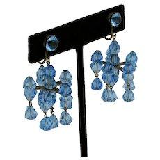 Blue Faceted Glass Chandelier Earrings