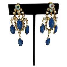 Blue Glass and Rhinestone Chandelier Earrings