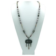 Hand -Knotted Agate Bead Necklace with Asian Design Pendant
