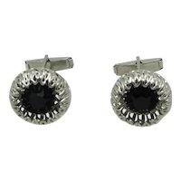 Filigree cufflinks with Black Rhinestone