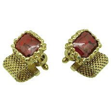 1970s Dante Cufflinks with Glass and Metal Mesh
