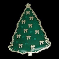 Enameled Christmas Tree Brooch With Bows