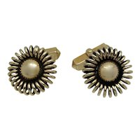 Swank Coiled Gold Tone Metal Cuff Links