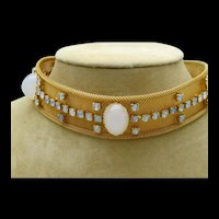Goldtone Mesh Metal Buckle Necklace with Rhinestones