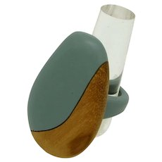 Modernist Wood and Resin Ring
