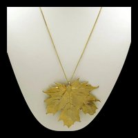 Goldtone Articulated Leaf Pendant on Chain