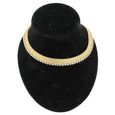 Goldtone Collar Necklace with Rhinestones