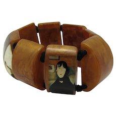Resin Stretch Bracelet With Mondigliani Designs