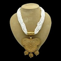East Indian Style Goldtone Pendant on Multi Strand Bead Necklace