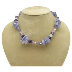 Amethyst, Quartz and Freshwater Pearl Bead Necklace