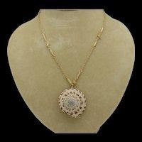Seashell Pendant on Ornate Goldtone Metal Chain