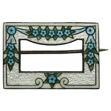 Edwardian Sterling Enameled Collar Pin with Flowers