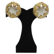 Miram Haskell Faux Pearl Earrings with Metal Petals