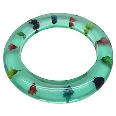 Green Lucite Bangle with Embedded Dried Flowers