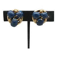 Retro Button Style Earrings with Blue Lapis