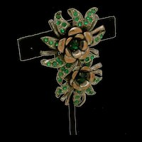 Floral  Dress Clip With Rhinestones