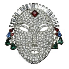 Art Deco Woman's Face Brooch with Rhinestones