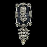 DeRosa Ornate Enameled Sterling Fur Clip