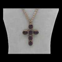 Victorian Amethyst Glass Cross Pendant on Chain