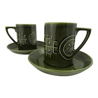 Pair of Portmerion cups with saucers in the Totem design. 1963 design by Susan Ellis-Williams