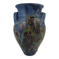 Studio pottery vase in blue with stylised floral decor by Australian potter Sue Hardie