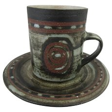 Studio pottery coffee cup by Briglin pottery, London. Stylish 1970s design