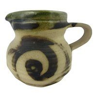 Studio pottery creamer in green glaze by Moffat pottery, Scotland