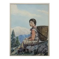 Gouache portrait of Nepalese girl with basket in mountain landscape