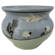 Studio pottery bowl with sheep decor by Padarn pottery, Wales