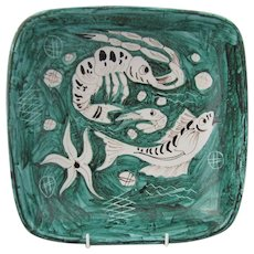 Italian terracotta serving dish in green with hand painted fish and shrimp decor