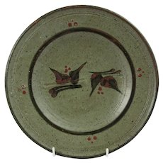 David Frith Studio pottery plate Green glaze with brushed and slip decor