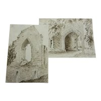 Victorian 19th century watercolour paintings. Architectural studies of ruins at the Oratory, Crowhurst